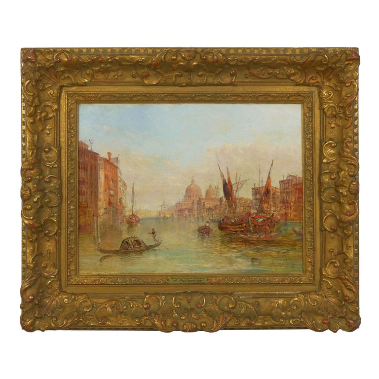 """Antique Oil Painting """"Grand Canal, Venice"""" 1889 by Alfred Pollentine For Sale"""