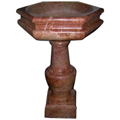 Rare Italian Font in Red Marble, 17th Century