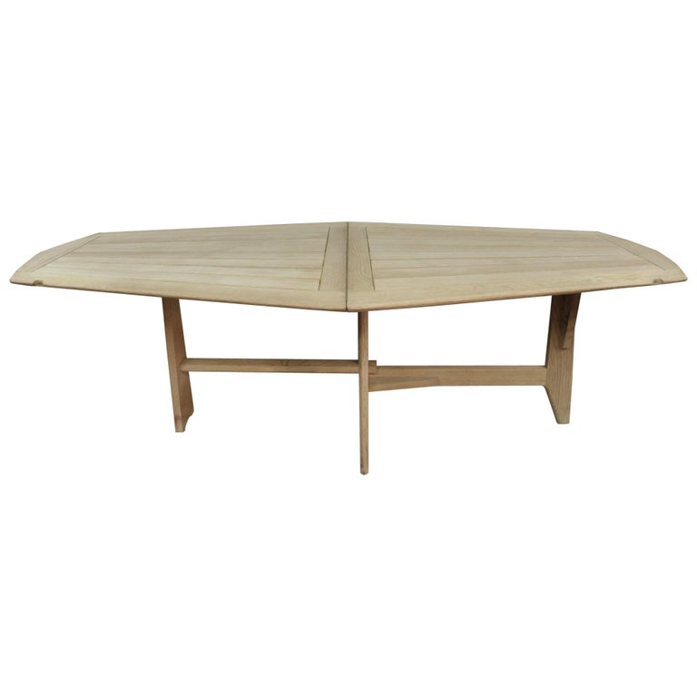 Guillerme Et Chambron Solid Oak Table Folding Dining Circa 1950 For