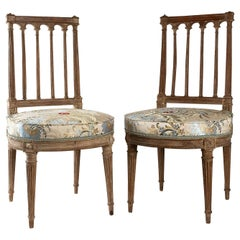 French Louis XVI Period, Pair of Chairs in Lacquered Beechwood, circa 1780