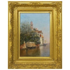 """Venetian Canal"" Antique Oil Painting by Warren Shepherd 'American, 1858-1937'"