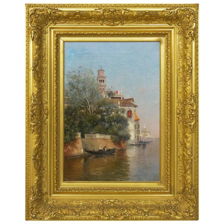 """Venetian Canal"" Antique Oil Painting by Warren Shepherd 'American, 1858-1937' For Sale"