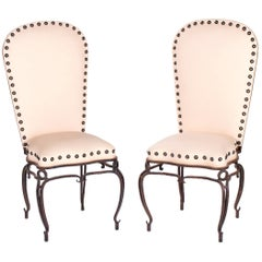 1970s Pair of French Wrought Iron White Upholstered Chairs