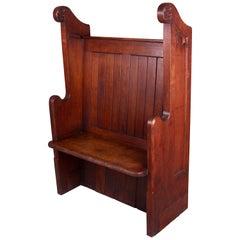 Gothic Oak Church or Hall Seat