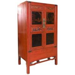 Oriental Cupboard, Wood, Metal, circa Early 20th Century