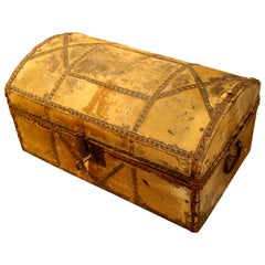 Early 19th Century Hide Covered Trunk with Working Lock and Key, circa 1810