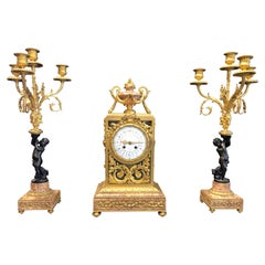 19th Century Napoleon III Marble and Bronze Mantel Clock by H. Journet & Cie