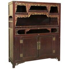 Oriental Cupboard Wood, Metal, circa Early 20th Century