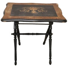 19th Century French Napoleon III Inlaid Wood Folding and Serving Table
