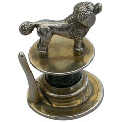 Victorian Silver and Enamel Poodle Menu Holder by William Hornby, London, 1908