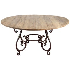 Rustic Outdoor or Indoor Round Teak Wood and Metal Base Dining Table