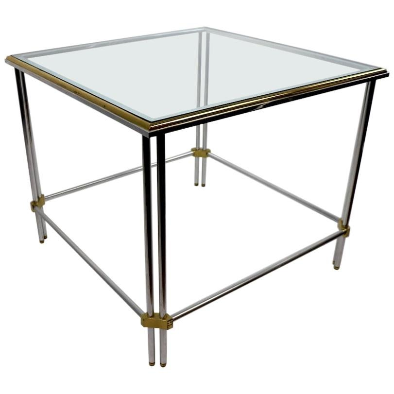 Square Aluminum Brass and Glass Table by John Vesey Inc.