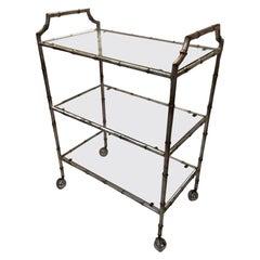 Schnazzy Maison Jansen Style Faux Bamboo Silverleaf Bar Cart