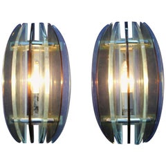 Veca 20th Century Modern Glass Wall Lamps Set of 2