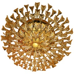 Magnificent Stilkronen Italian Gilt Brass and Crystal Flush Mount Chandelier
