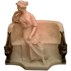 "Sculpture ""Citarista"", Italy 1885, Empire, in Statuary White Marble"