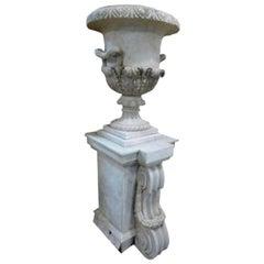 Pair of 18th Century Neoclassical Spanish White Carrara Marble Vases