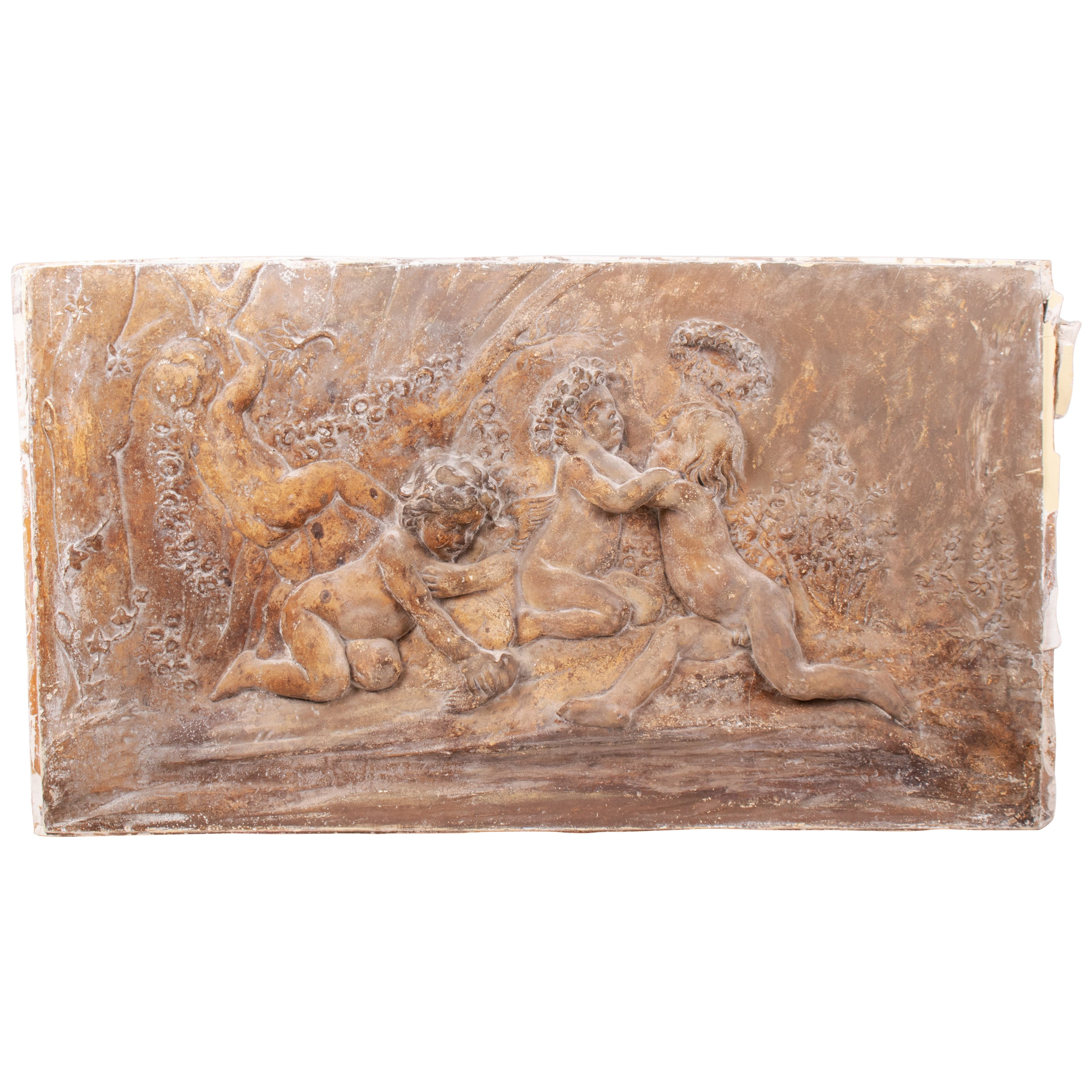 19th Century French Stucco Relief with Cherubs and Garlands