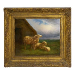 """Sheep at Pasture"" '1862' Pastoral Landscape Painting by Eugene Verboeckhoven"