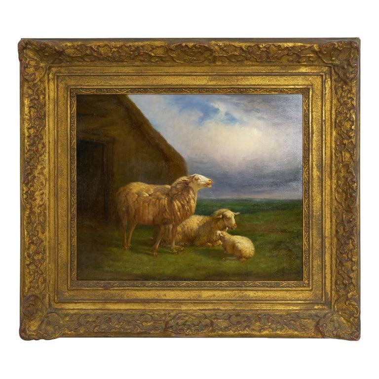 """Sheep at Pasture"" '1862' Pastoral Landscape Painting by Eugene Verboeckhoven For Sale"
