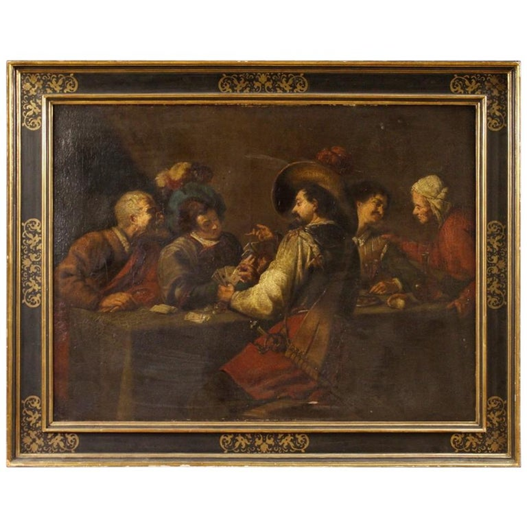 19th Century Oil on Canvas Flemish Interior Scene Painting, 1870 For Sale