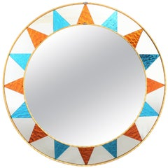 Sunburst Mirror with Mosaic Blue and Orange Glass Frame, Spain, 1960s