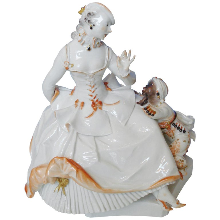 Meissen Porcelain Figurine Rococo Lady with a Moor, by Paul Scheurich For Sale