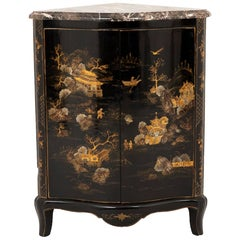 Louis XV Style Corner Cabinet in Black Lacquer with a Chinese Decor, 1950s