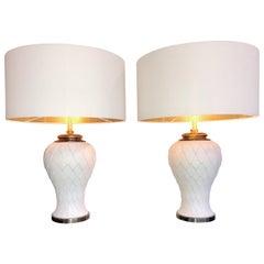 Pair of Large Italian Ceramic Artichoke Lamps