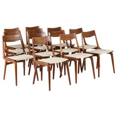"Set of 12 ""Boomerang"" Dining Chairs by Alfred Christensen"
