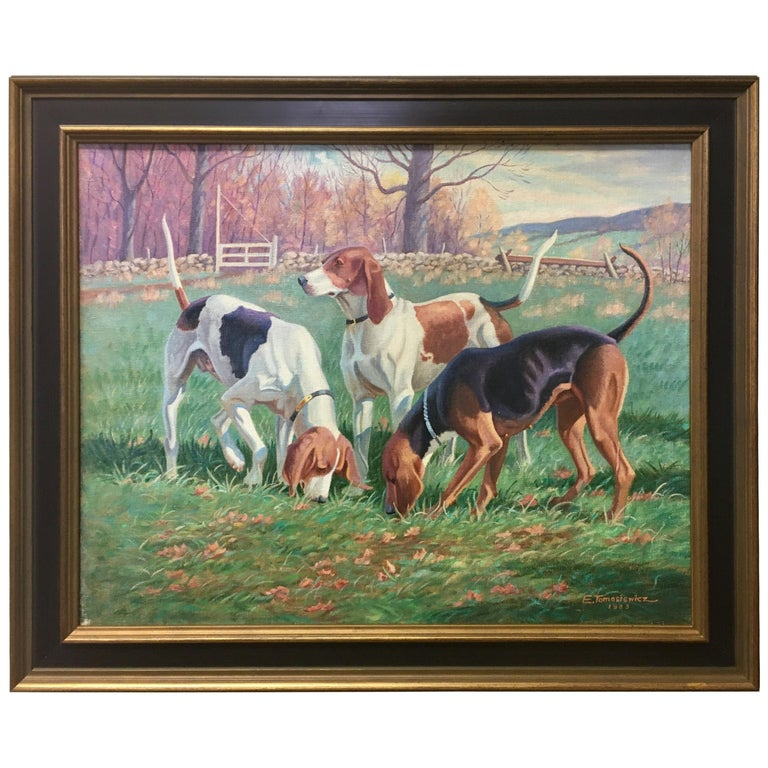 Original Signed Edward Tomasiewicz Oil Painting Gathering of Dogs For Sale