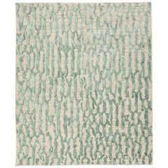 Contemporary Rug Abstract Design on Green Colors