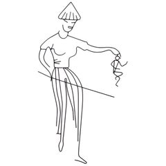 "1950s Wire Wall Sculpture, ""Angry Woman Carrying Small Man"""