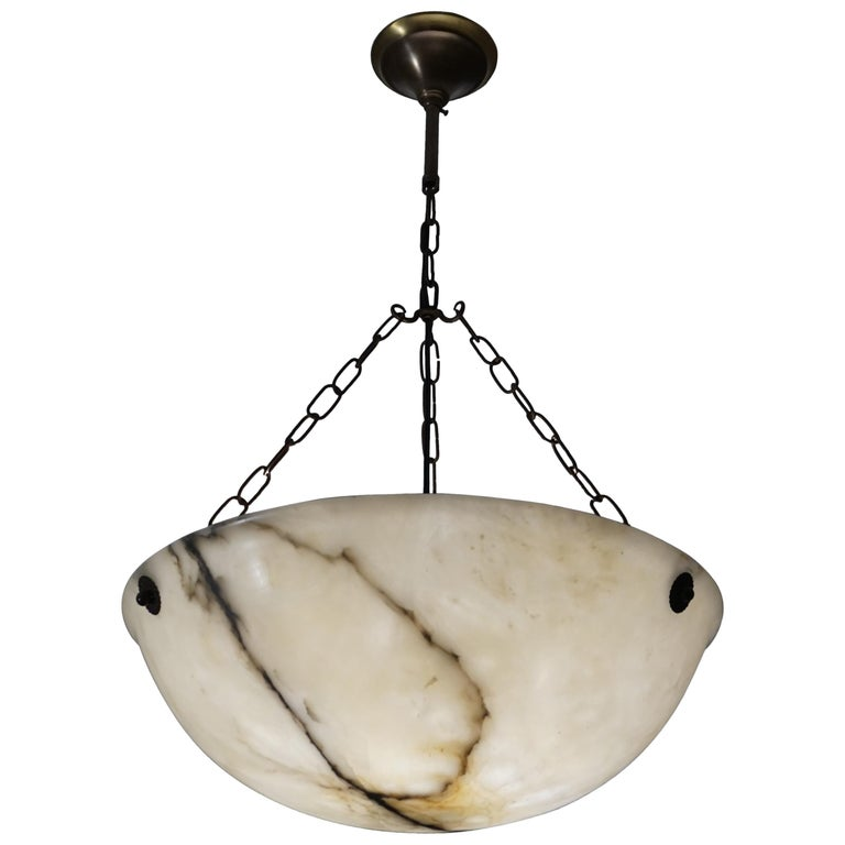Early 20th Century Large and Amazing Condition Alabaster Pendant Chandelier For Sale