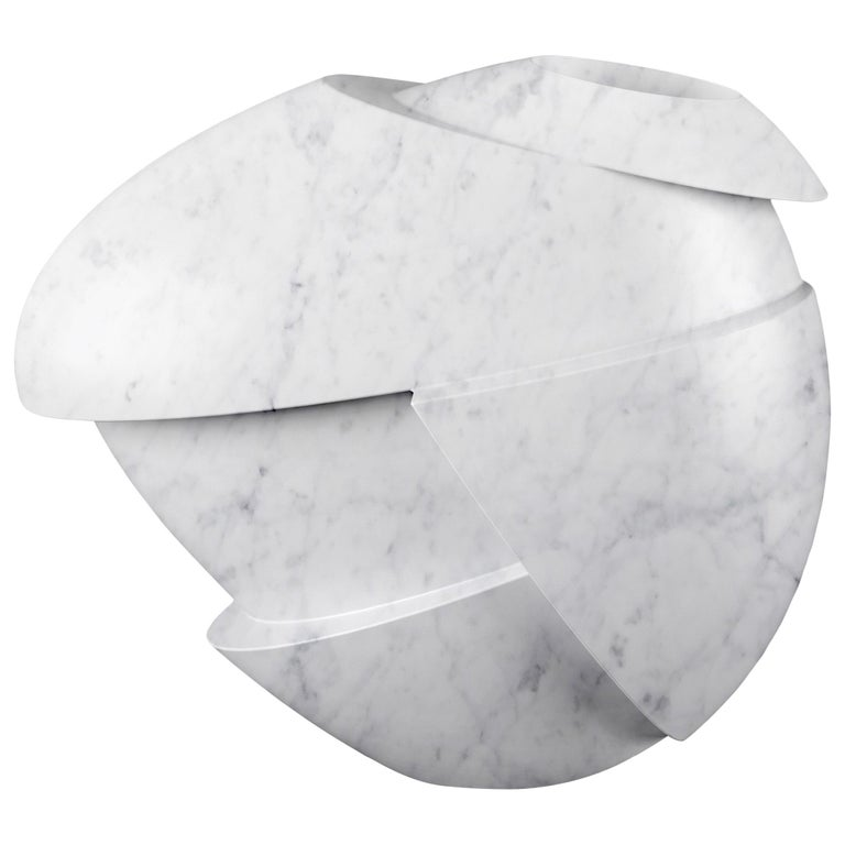 Vase Sculpture White Carrara Marble Contemporary Italian Design For Sale