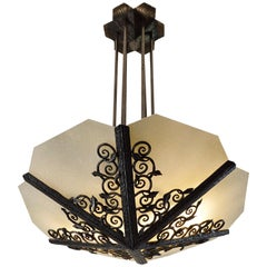 Edmond Delion Large French Art Deco Wrought Iron Chandelier, circa 1920