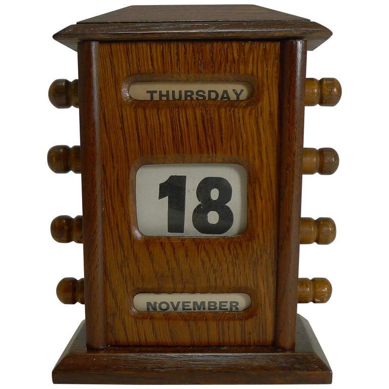 Antique English Desk-Top Oak Perpetual Calendar, circa 1900 For Sale