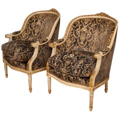 20th Century Lacquered and Giltwood with Velvet Pair of Italian Armchairs, 1960