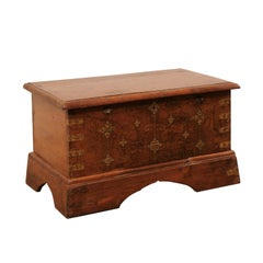 British Colonial Chest or Trunk with Compartments & Beautiful Floral Brass Inlay