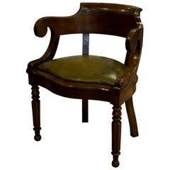 French Empire Mahogany Desk Chair, circa 1840