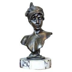Art Nouveau Bust by Emmanuel Villanis, circa 1900