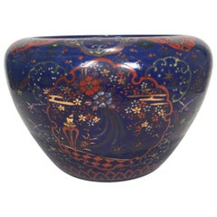 Large and Rare Deep Blue Imari Porcelain Jardinere Planter, 1880s