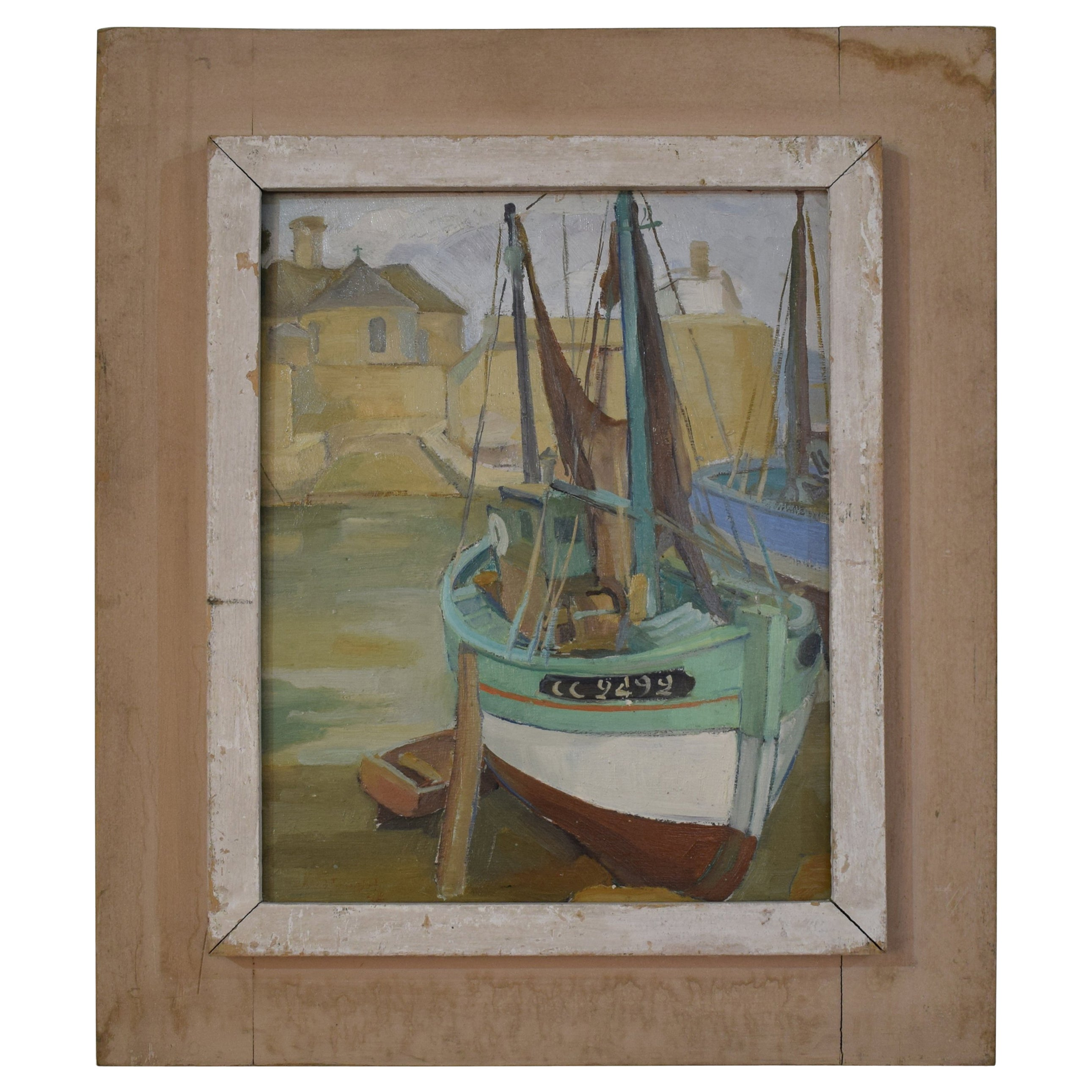 1940s French Oil Painting with Harbor Scene
