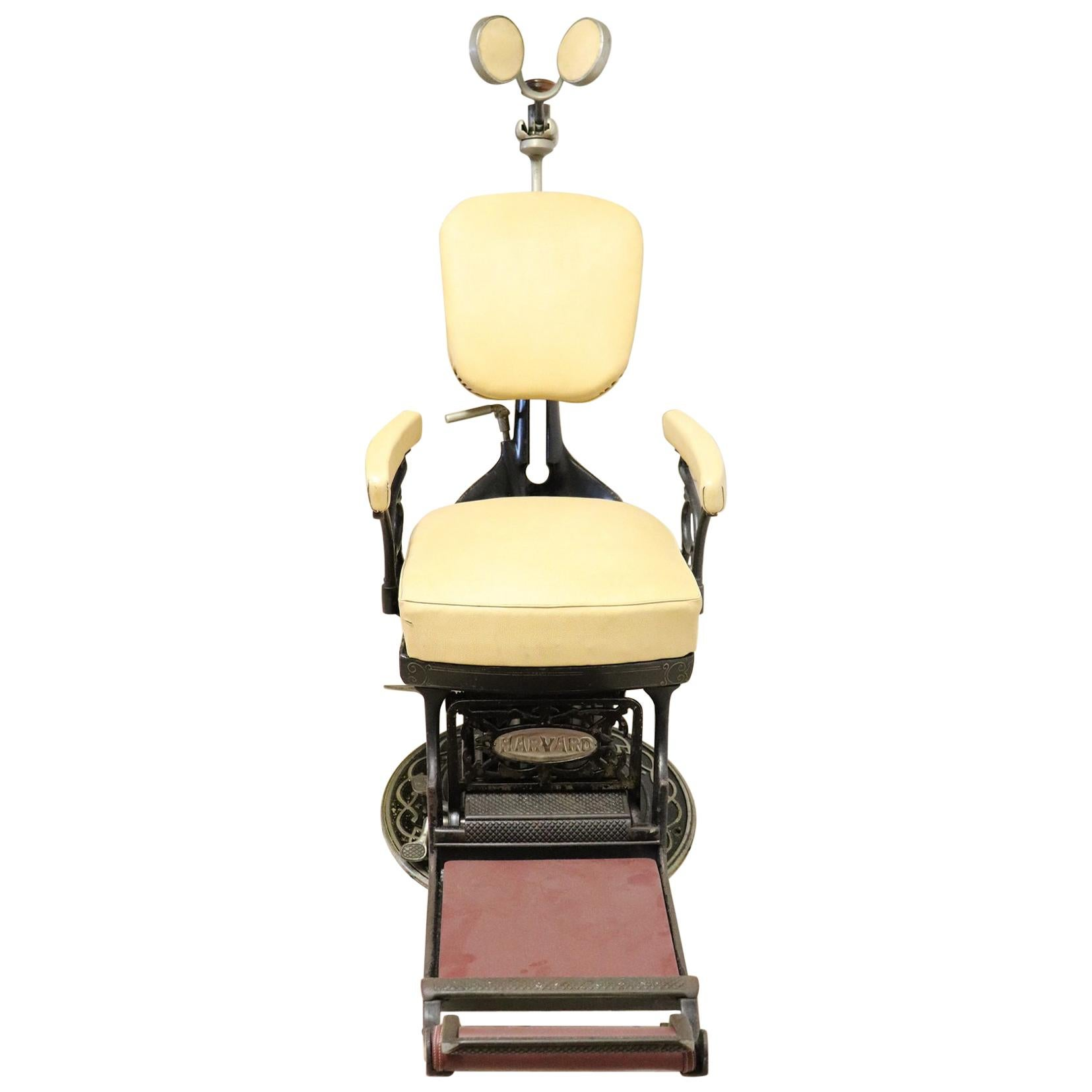 Vintage Dentist Chair in Decorative Iron and Leather by Harvard, 1910s