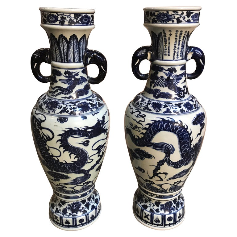 Blue and White Vases Pair For Sale