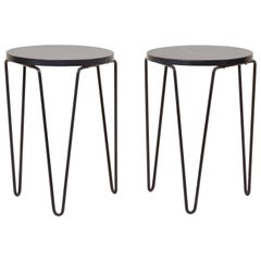 Pair of Early Original Vintage Hairpin Stacking Stools or Side Tables by Knoll
