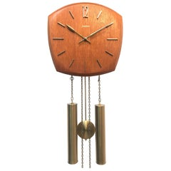 Very Handsome Vintage Junghans Pendulum Wall Clock in Solid Oak and Brass