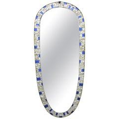 Large Mid-Century Modern Blue and Clear Mirrored Glass Mosaic Oval Mirror