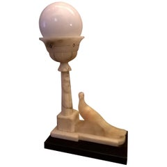 Alabaster and Marble Table Lamp, Italy, 1930