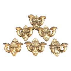 Set of Six Italian Sconces 19th Century Carved Giltwood Two-Light Candleholders